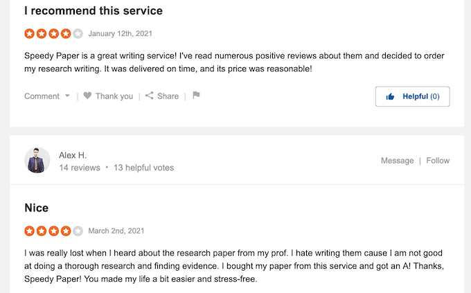 speedypaper.com reviews at sitejabber are positive in most cases