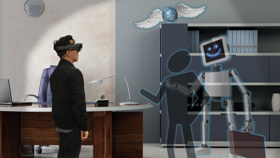 Render of a person interacting with a sculpture in the Holostudio