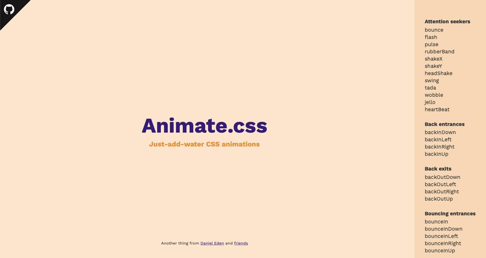 Animate.CSS interface