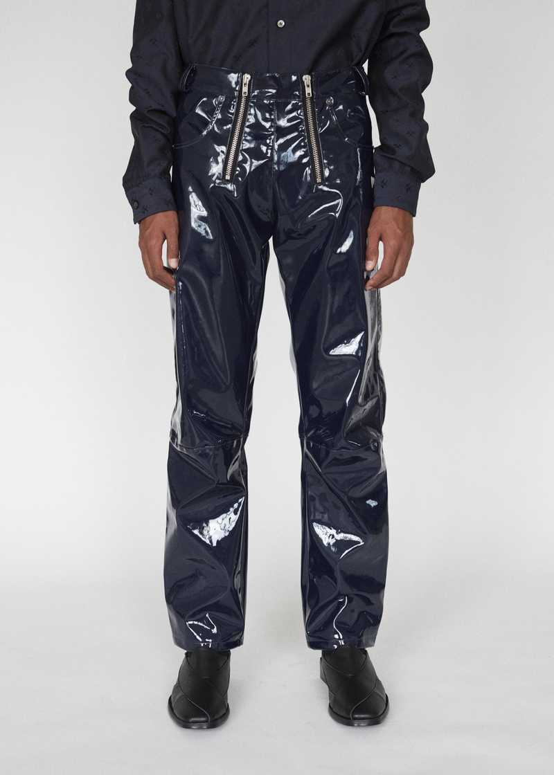 THOR GMBH AW19 VINYL TROUSERS NAVY FRONT
