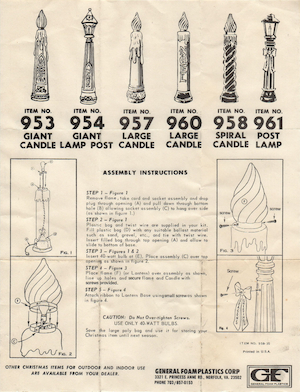 General Foam Plastics Giant Candle #953, Giant Lamp Post #954, Large Candle #957, Spiral Candle #958, Large Candle #960 & 1 other Instruction Manual.pdf preview