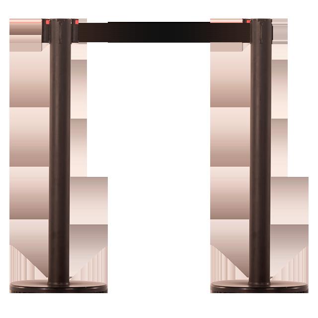 Pedestal em ABS de alta resistência com acabamento preto.