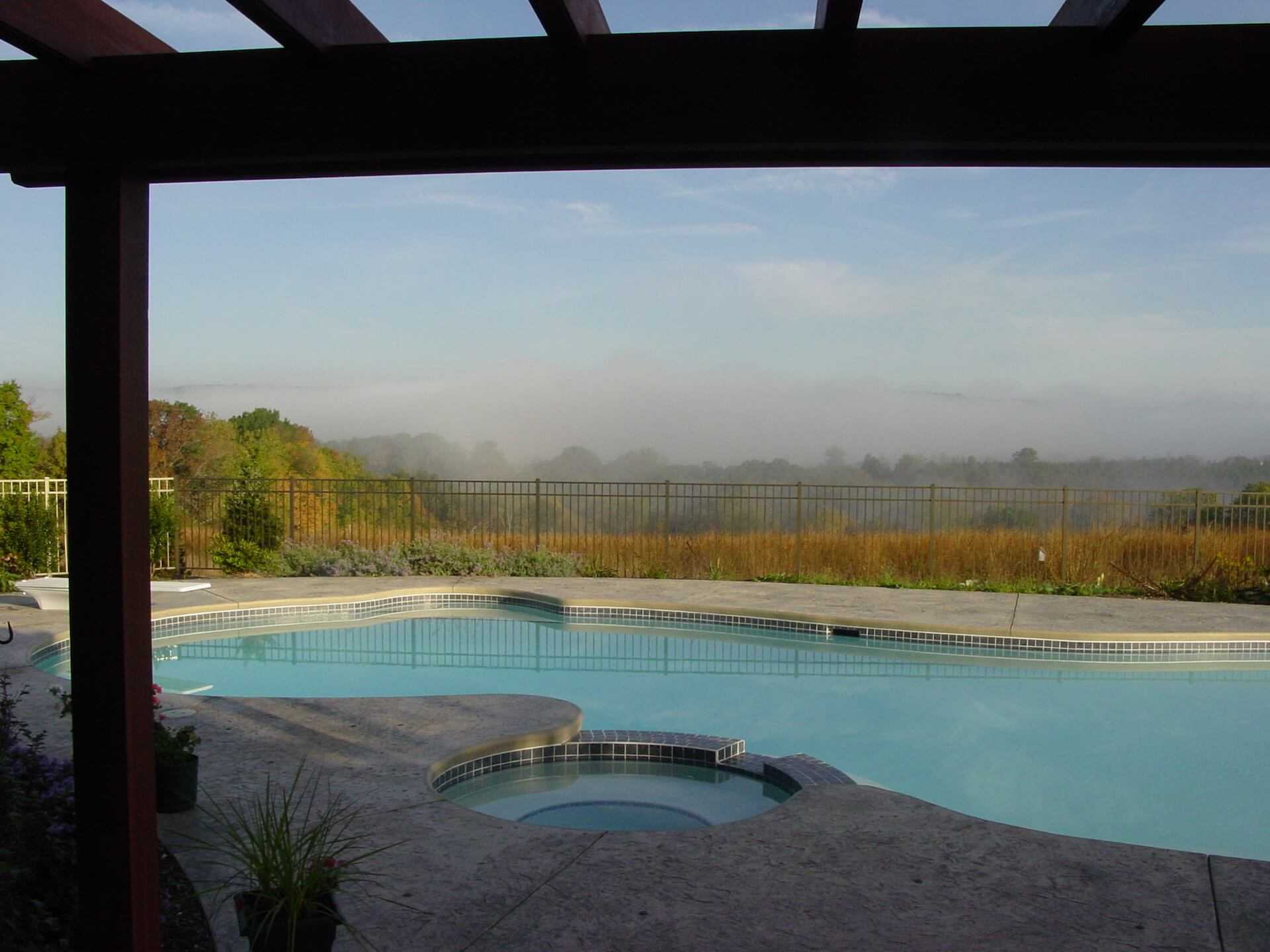 mist meadow behind the pool