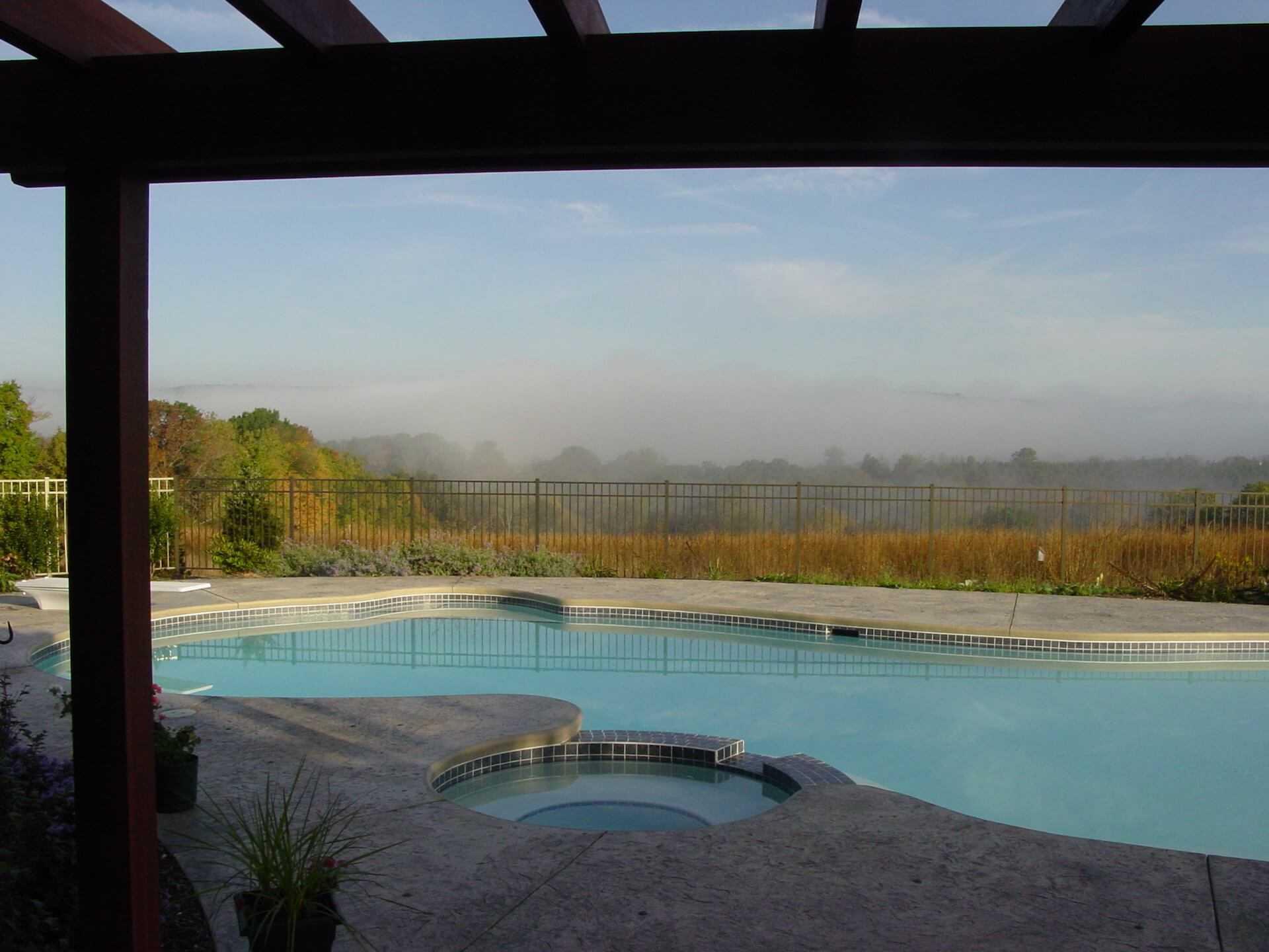 mist meadow behind the pool