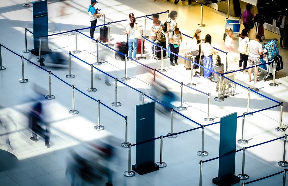 Check-in desks in airport terminal