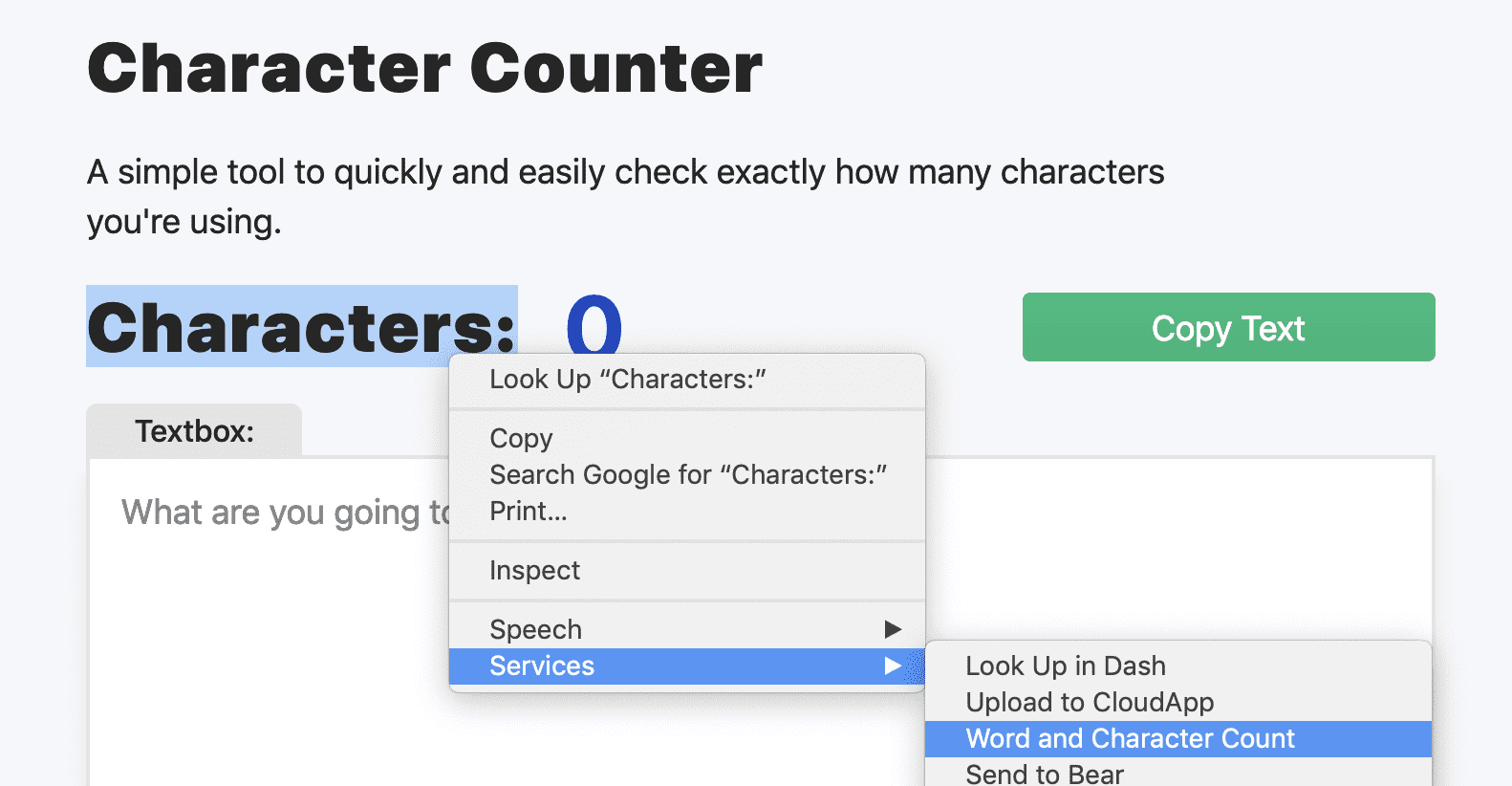 Image of Right-Click Services AppleScript Function to Count Word and Characters