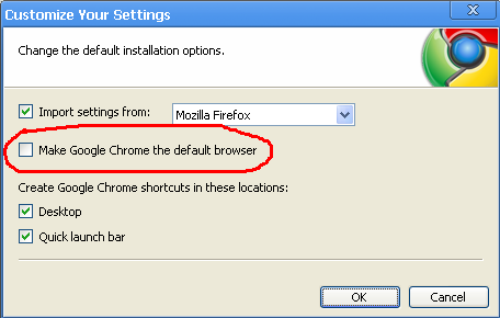 Chrome advanced install options