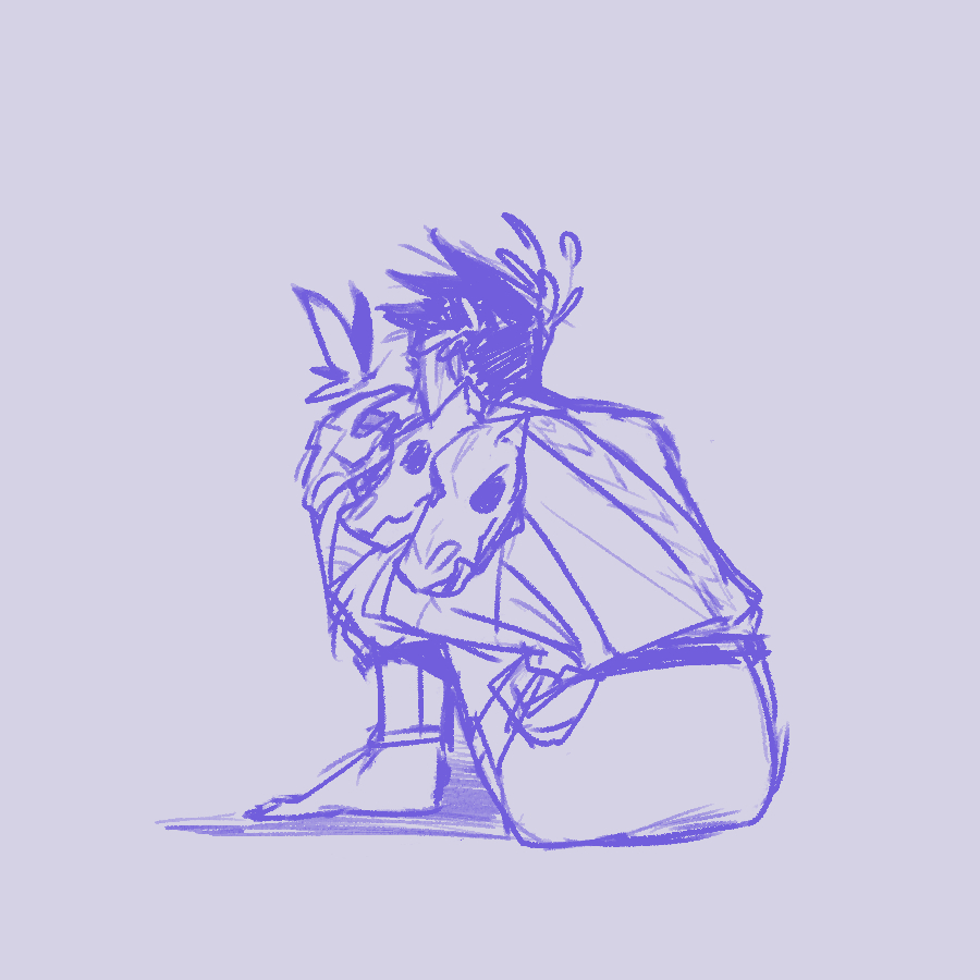 Zagreus sitting on the floor with a butterfly on his finger.