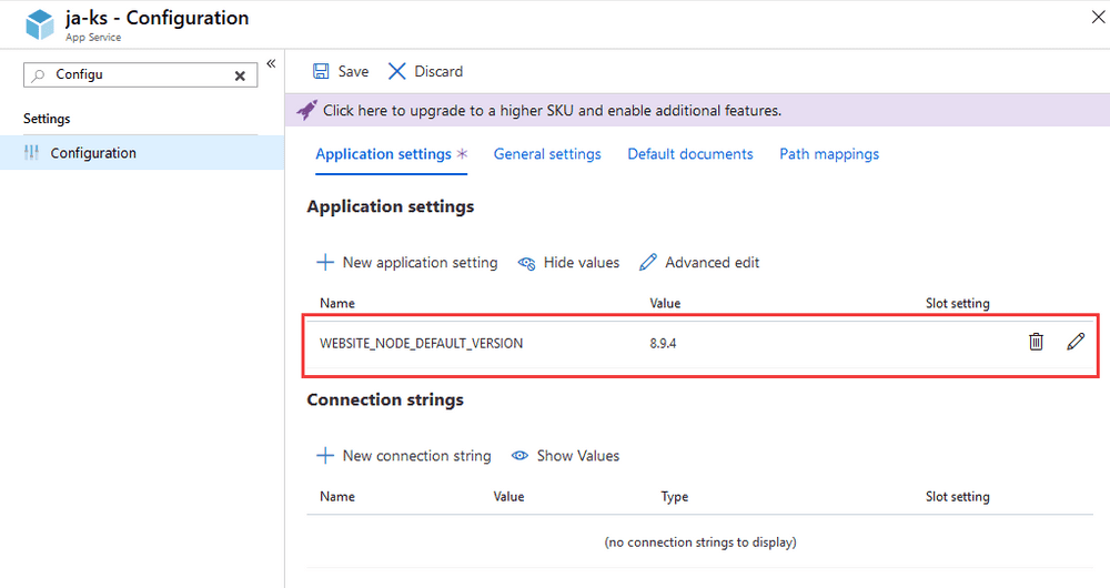 Configure the Node version in the Application Settings