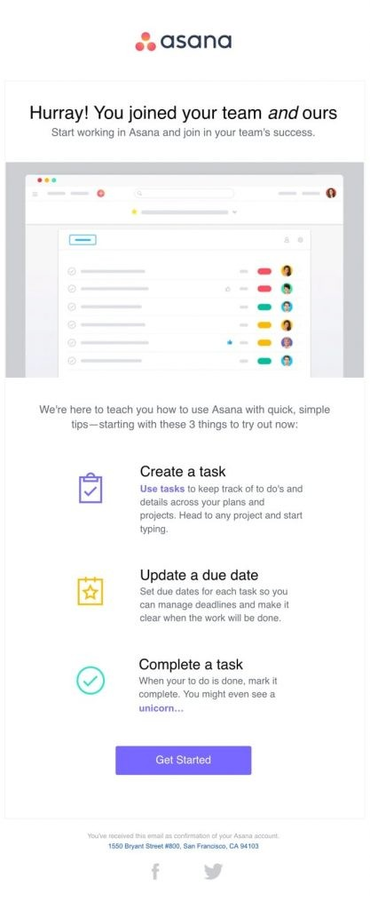 Asana Welcome email
