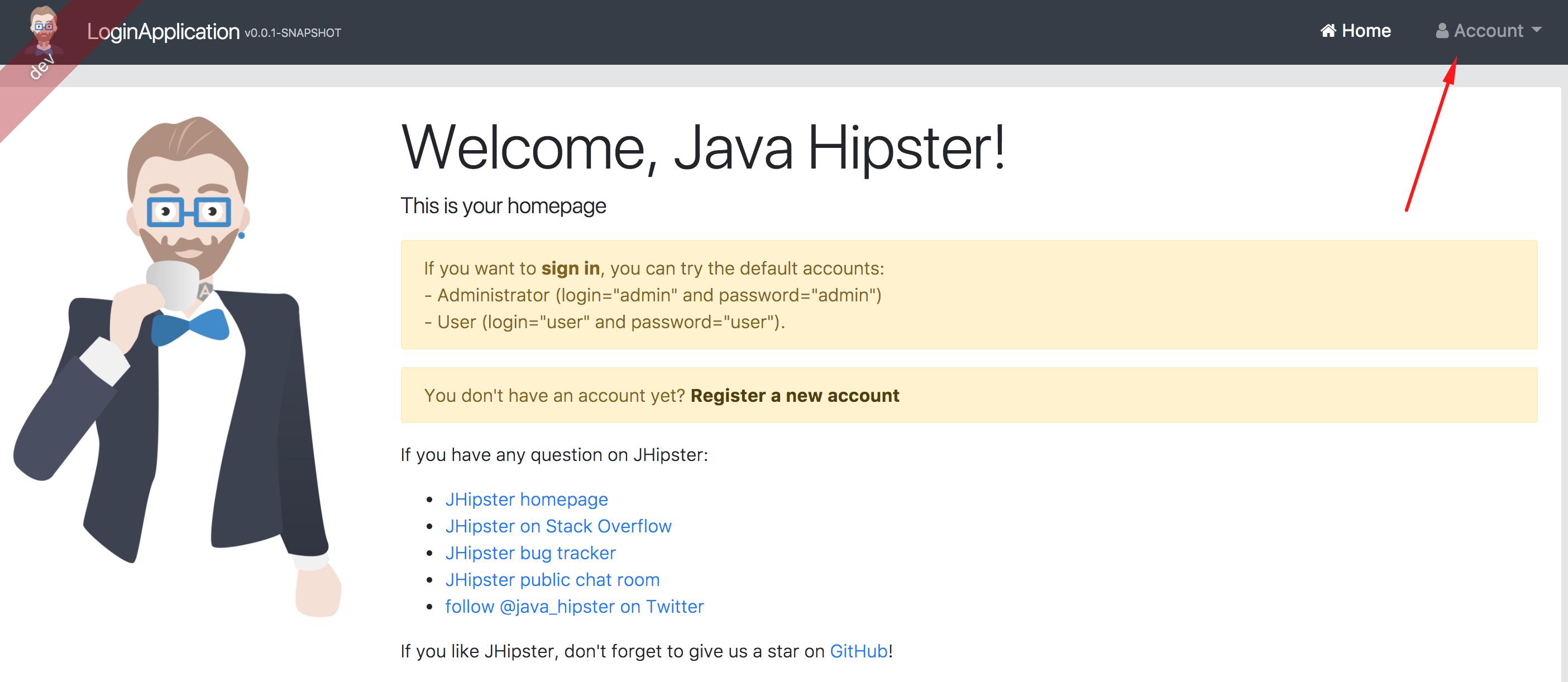 JHipster стартовая страница