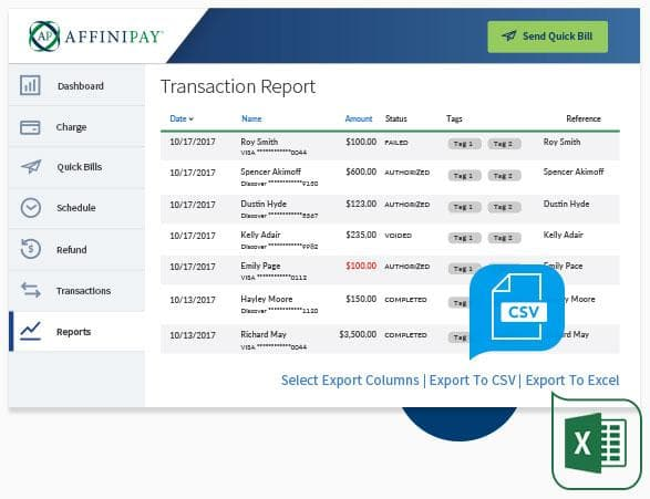 Affinipay Transaction Report with prominently placed file export buttons