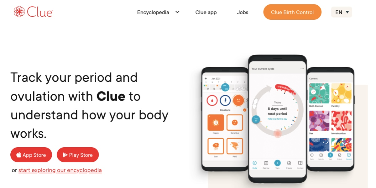 Screengrab of the Clue homepage, featuring images of the app on three phone screens
