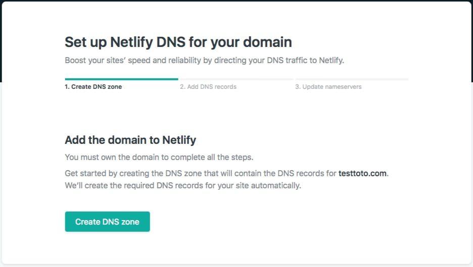 Netlify Create Dns Zone