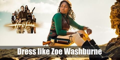 Zoe Washburne wears a plain T-shirt with a brown leather vest over and regular tan pants with black boots. Her typical choice of weapon is shot guns