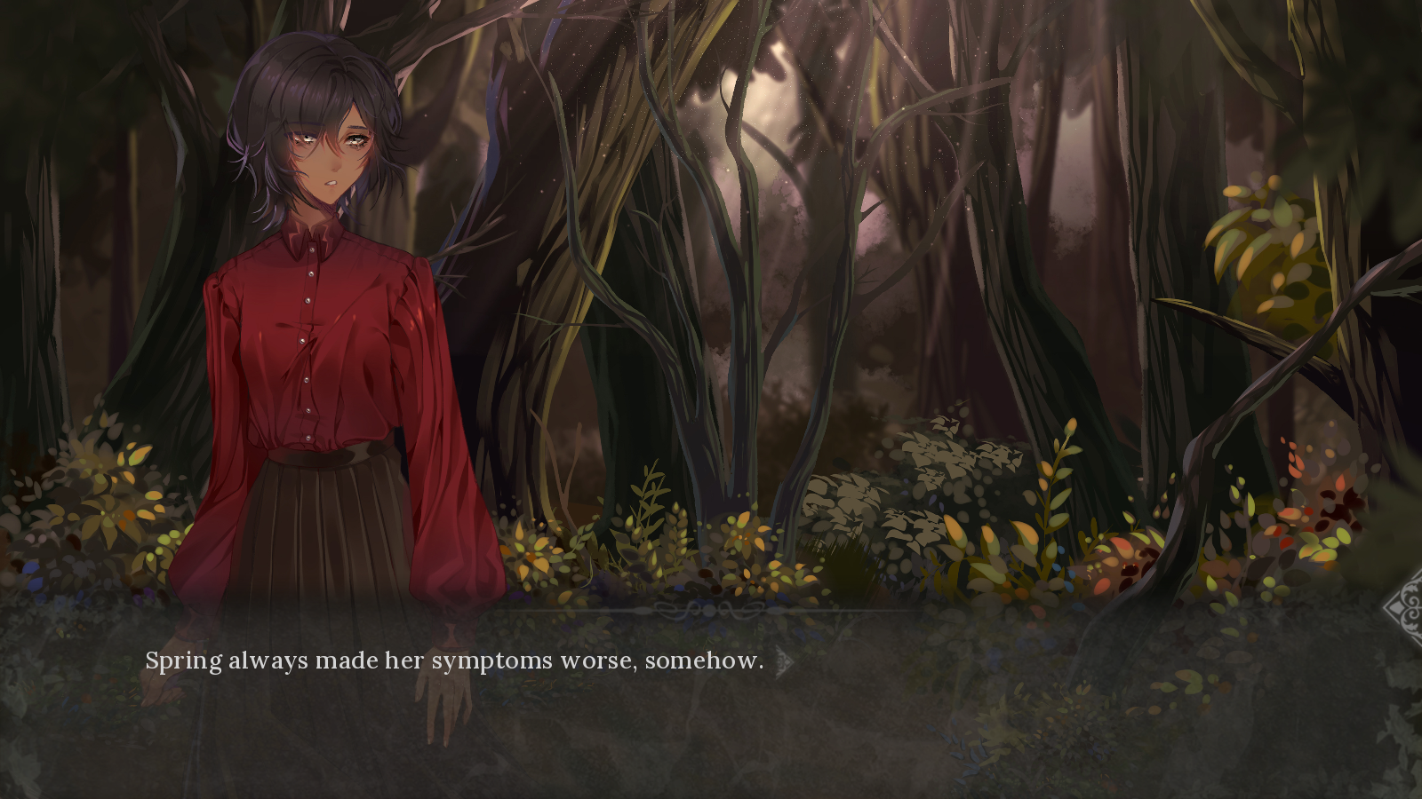 CG of Esther in the afternoon forest. Narrator: Spring always made her symptoms worse, somehow.