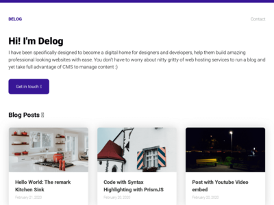 Screenshot of a page created with Delog - GatsbyJS + Netlify CMS