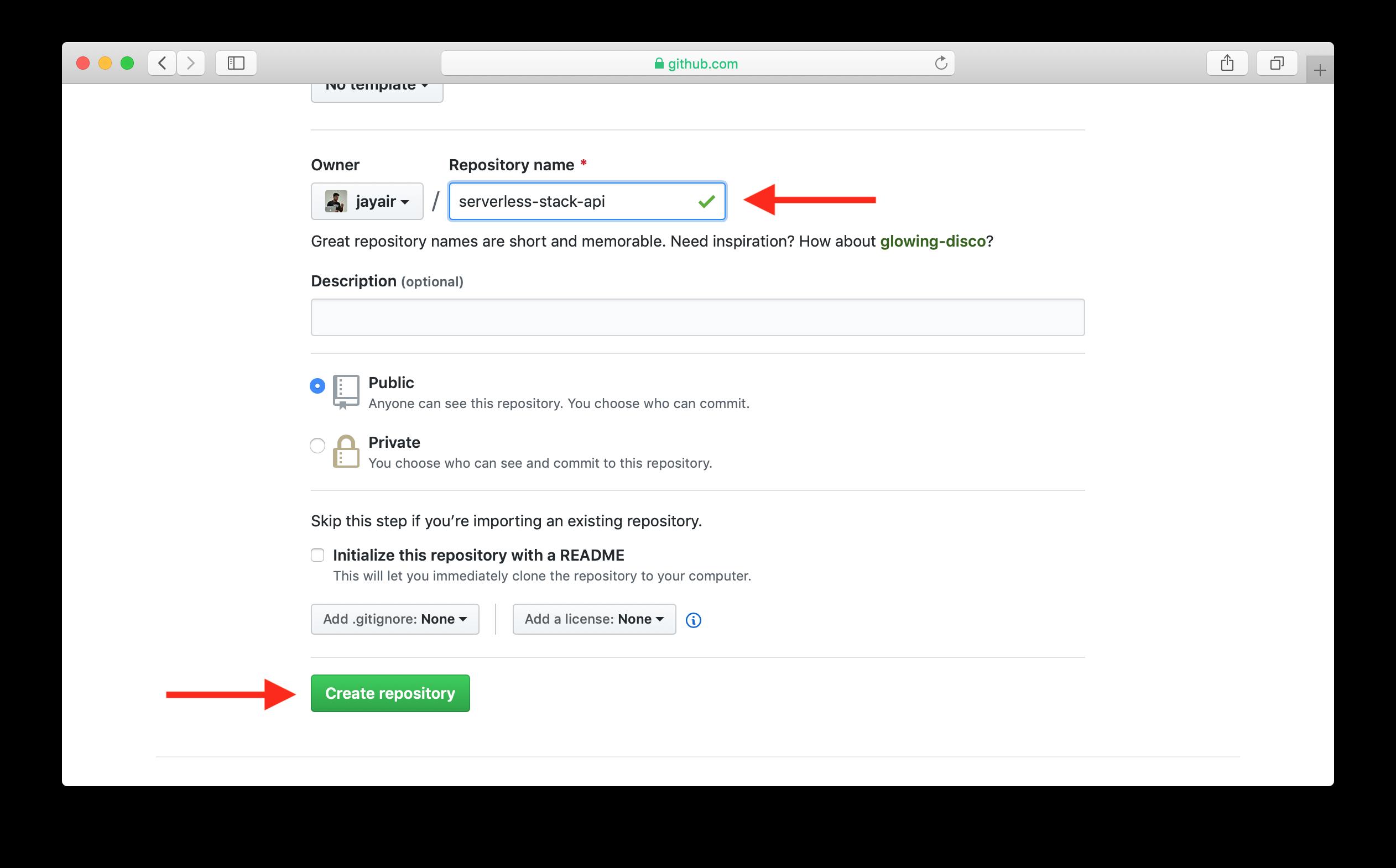신규 GitHub 저장소 이름 만들기 화면
