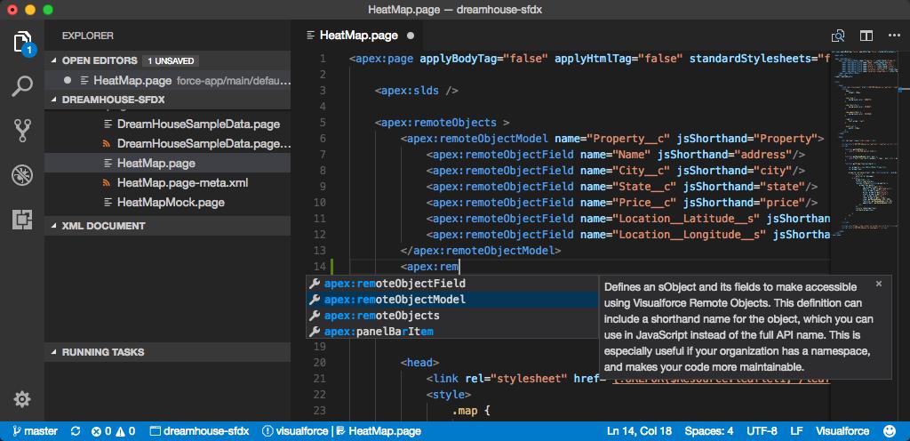 コード補完オプションと .page ファイルの関連ドキュメント