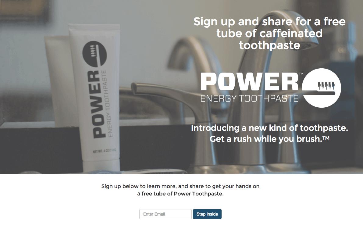 PowerToothpaste landing page