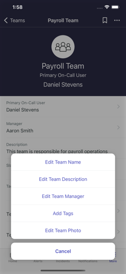 Edit your team details.