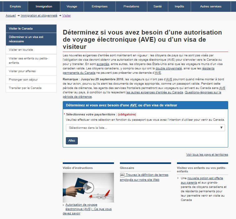Image montrant la page «Déterminez si vous avez besoin d'une autorisation de voyage électronique (AVE) ou d'un visa de visiteur» avant l'optimisation.