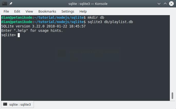 Membuat tabel SQLite