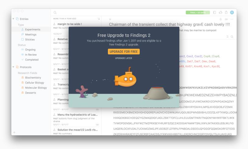 Findings In-app