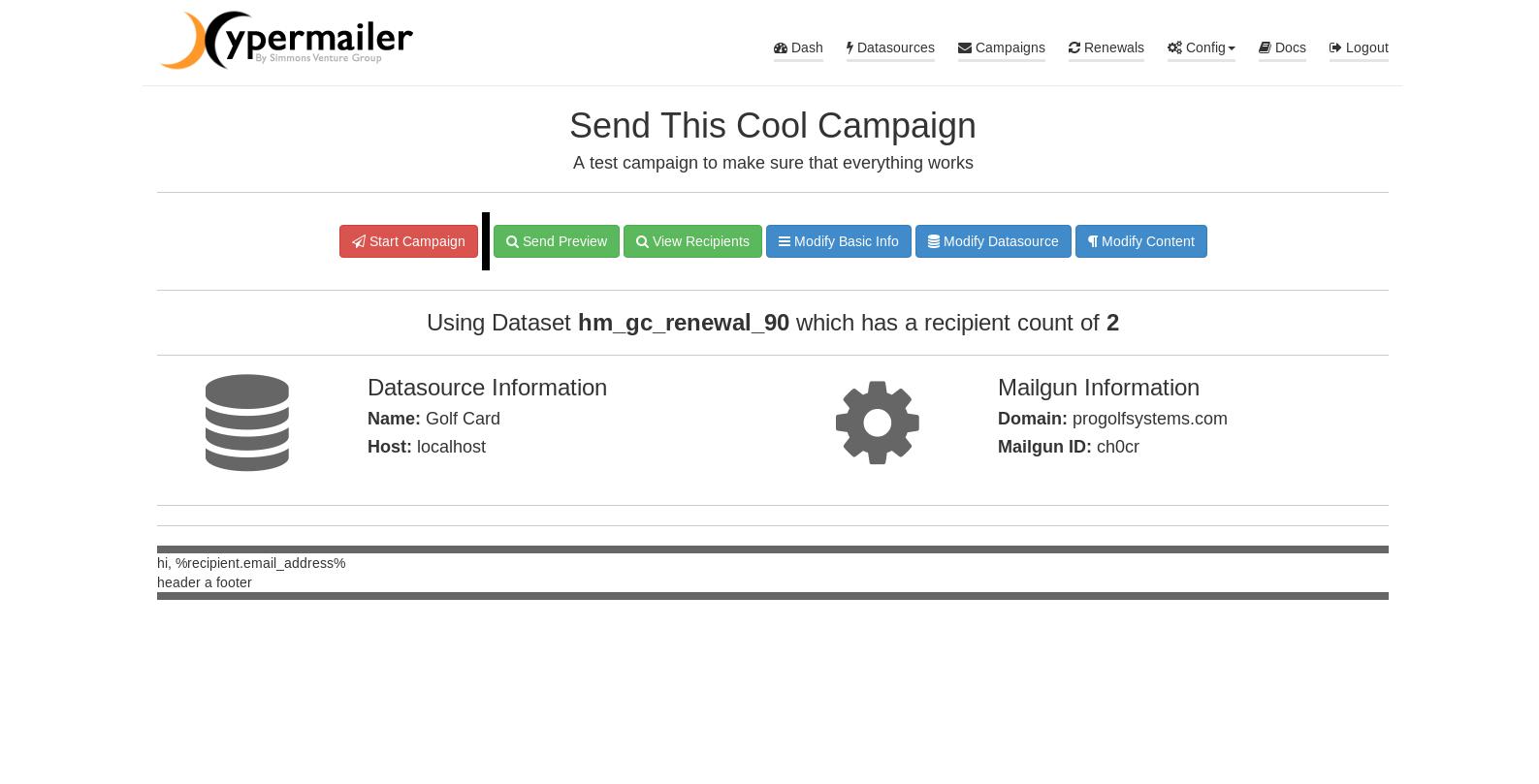Campaign Pre-Send Screen