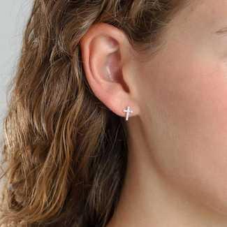 Pilgrim Tiny Crystal Cross Post Earrings
