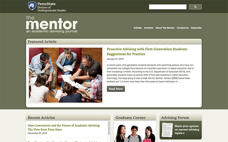 The Mentor - An Online Academic Advising Journal homepage