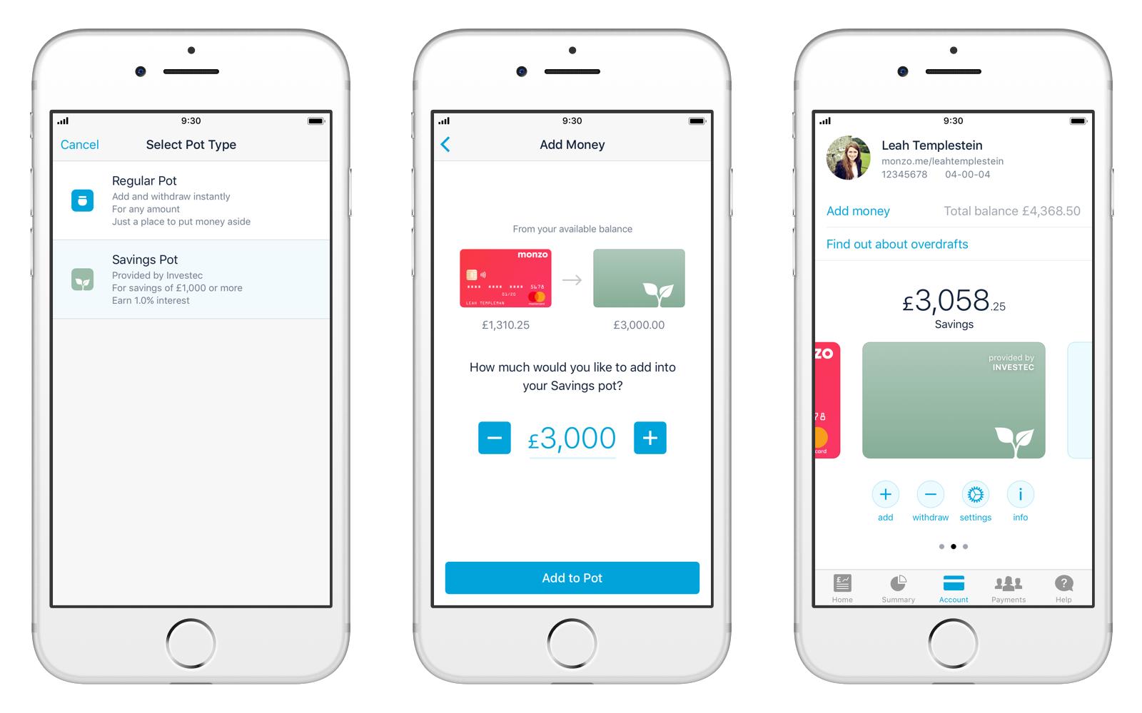 Screens showing Savings Pots in-app