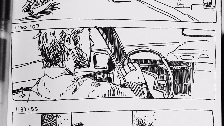 Sebastian honking his car horn.