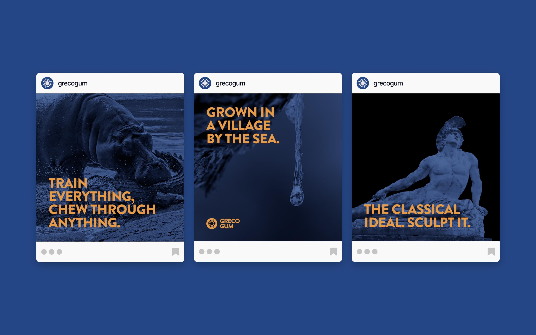 Social media images for e-commerce brand Greco Gum