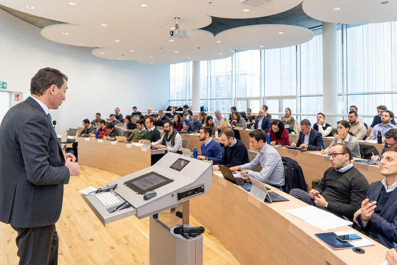 Students attending a lecture at SDA Bocconi