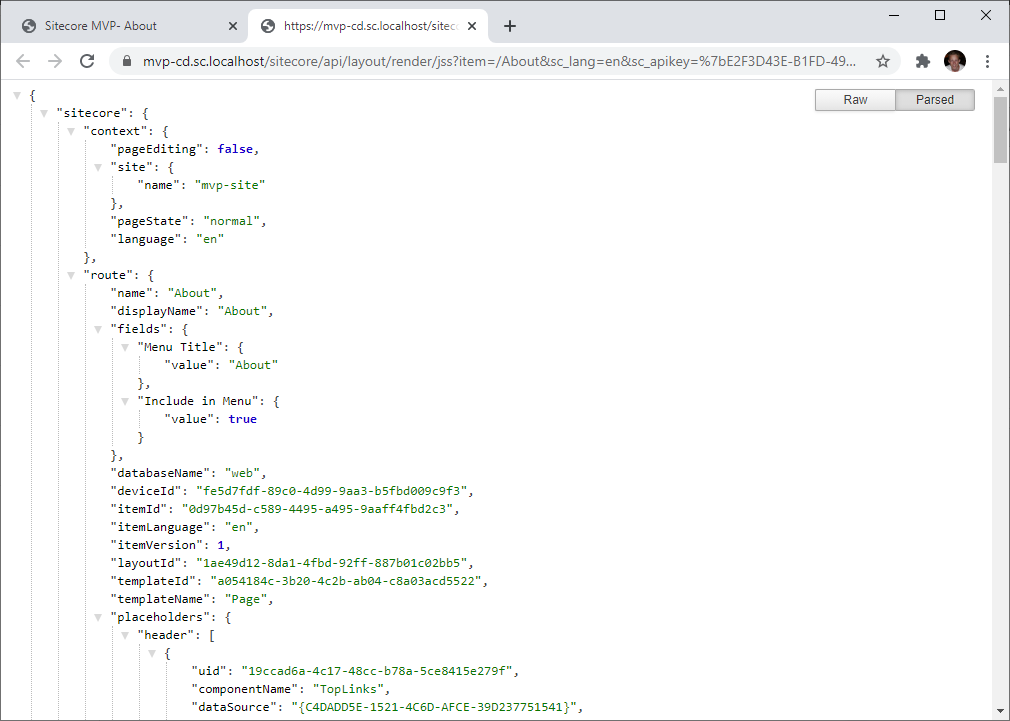 Layout Service JSON result of about page