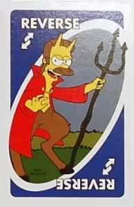 Simpsons: Treehouse of Horror Blue Uno Reverse Card