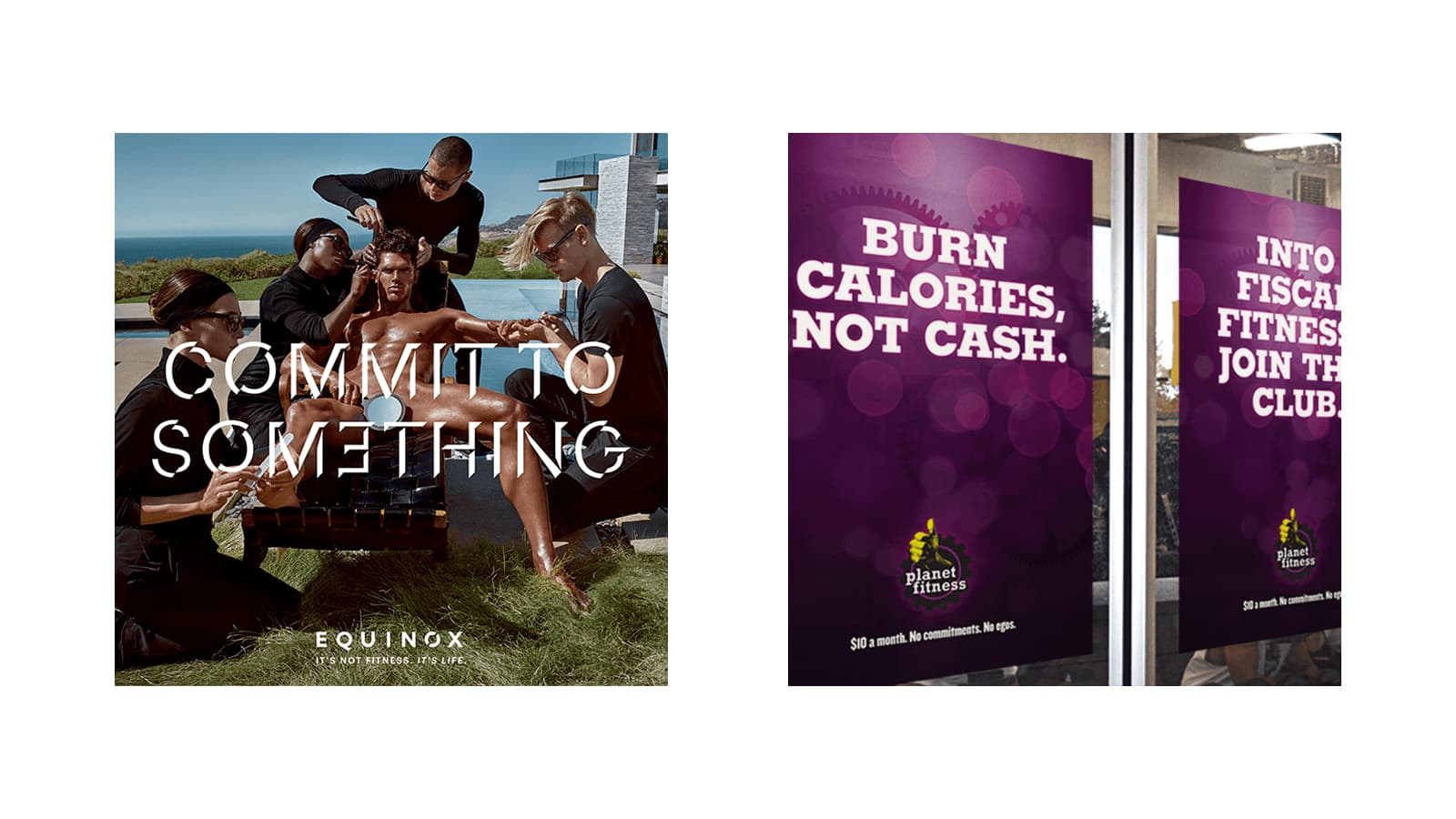Equinox ads juxtaposed to Planet Fitness ads