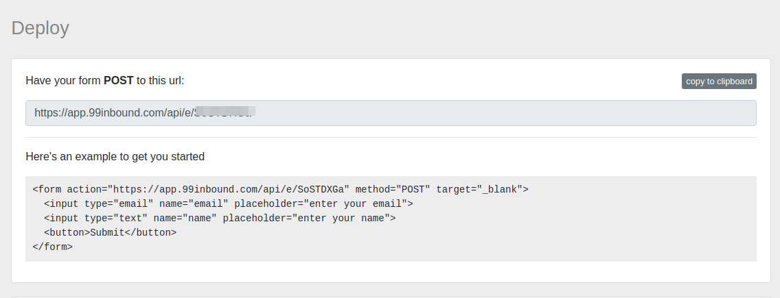 Form Endpoint API Screenshot