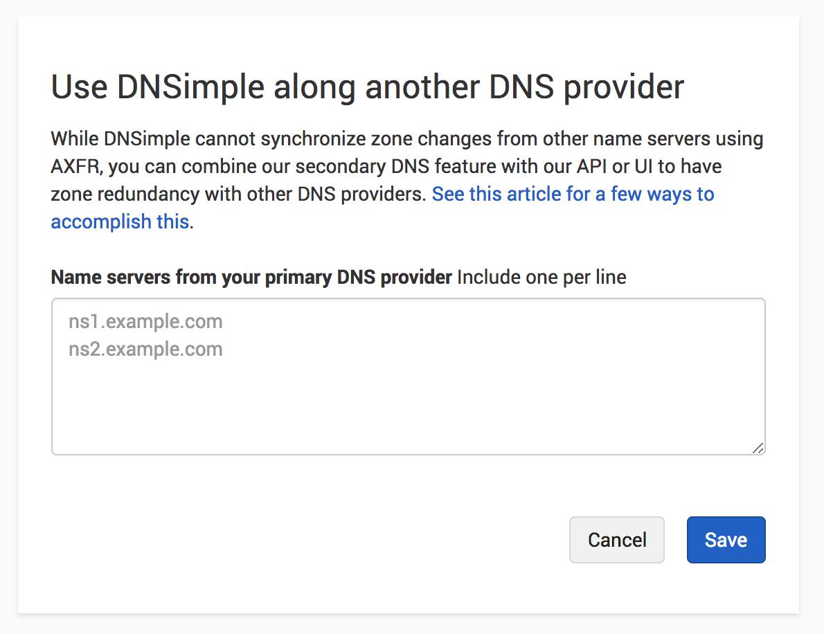 Configure primary DNS provider name servers