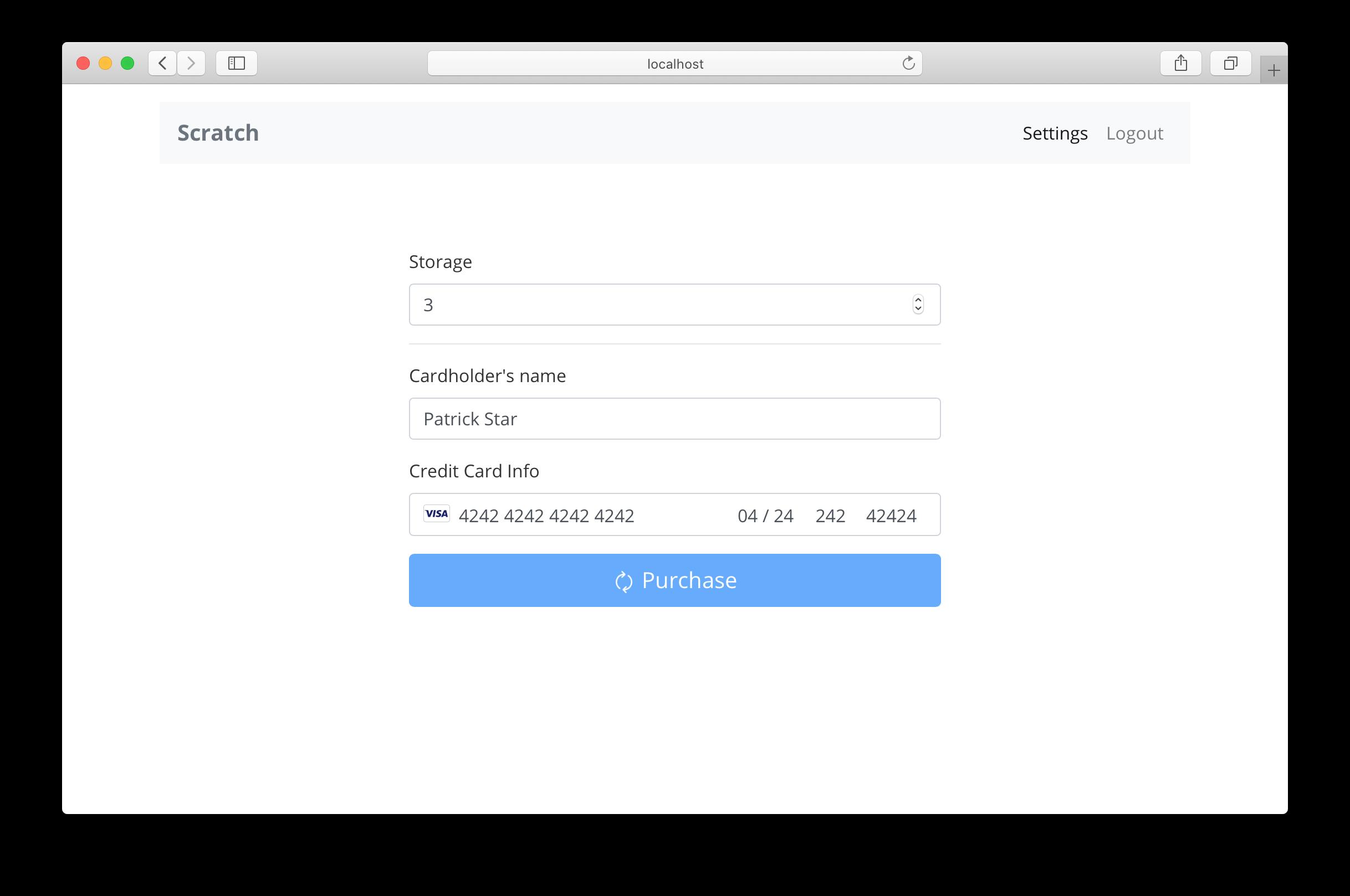 Settings screen with billing form screenshot