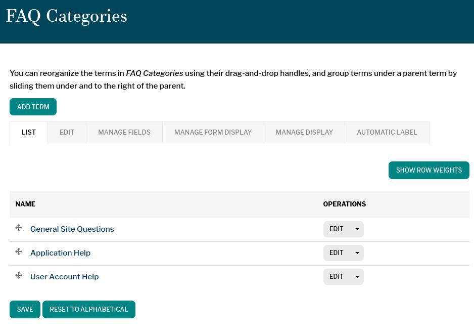 Manage FAQ Categories