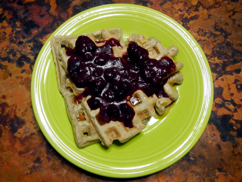 GF Waffles with Blueberry Orange Sauce
