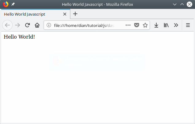 Javascript hello world program