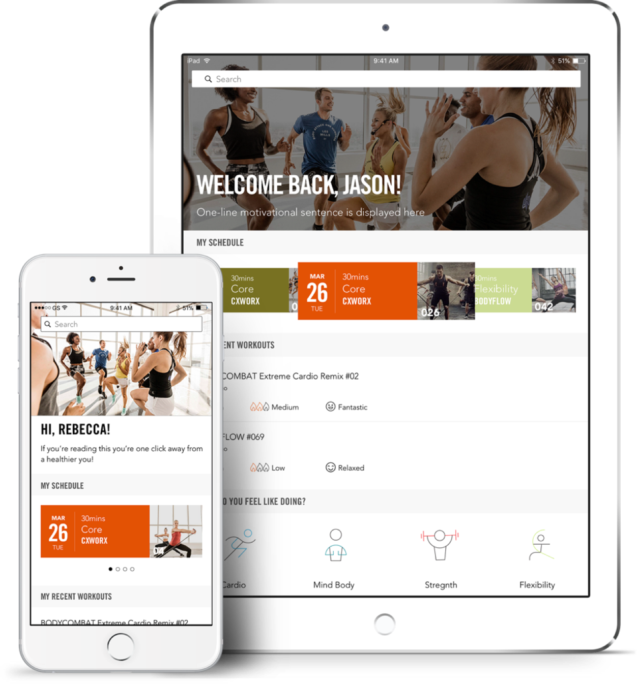 Screenshot of Les Mills user dashboard designed for iPhone and iPad.