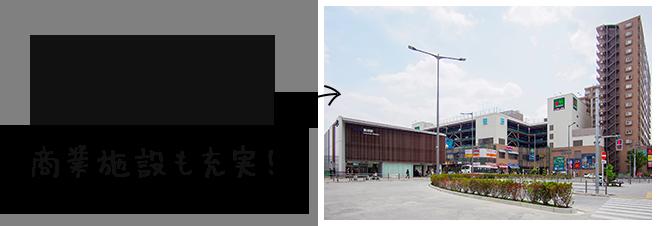 整備された駅周辺には商業施設も充実!