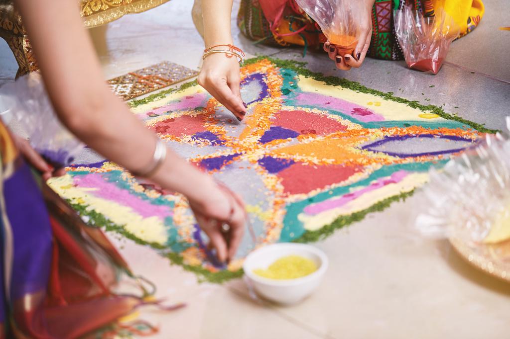 Making rangoli