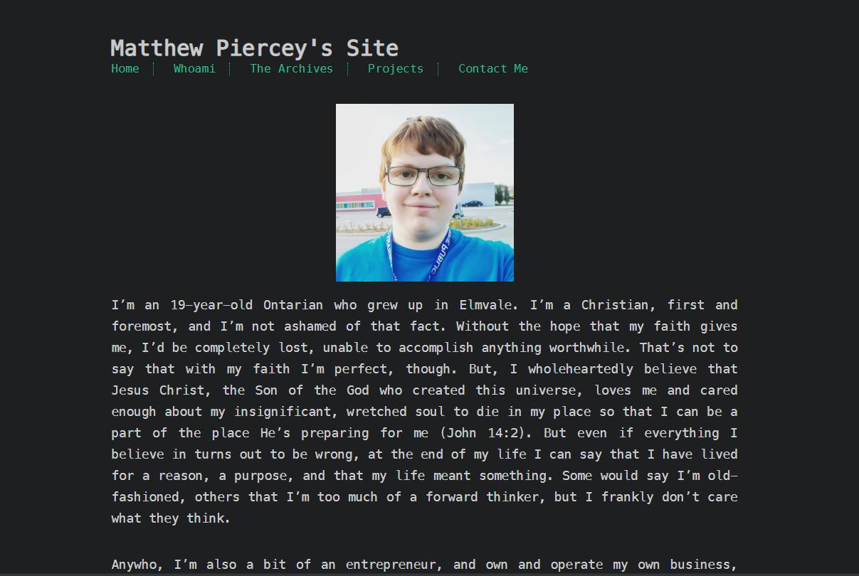 A screenshot of Matthew Piercey's website