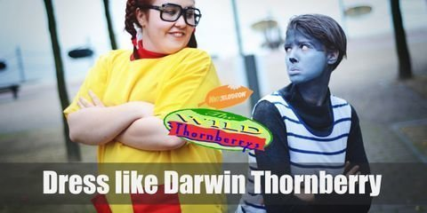 For Darwin Thornberry costume you will need Chimpanzee mask, white and blue striped tank top, blue shorts, gray spandex t-shirt and leggins.