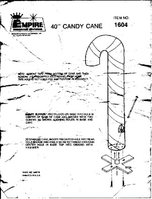 Empire Candy Cane #1604 Instruction Manual preview